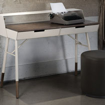 modern white metal desk with wood top and accents