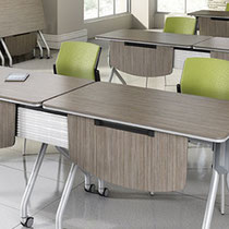 modern office furniture: professional commercial wood classroom style tables and green chairs