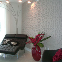 After image of completed design project by Mia Home Trends featuring a staged modern lounge area