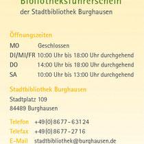 Bibfit Leseführerschein für die Stadtbücherei Burghausen