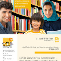 Plakat Integration, Entwurf und Umsetzung für die Stadtbücherei Burghausen, 2016