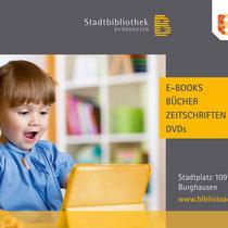 Digitale Anzeige für Werbebildschirm im Hallendbad Burghausen, für die Stadtbibliothek in Burghausen