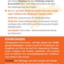 Flyer für das Waldrappteam, 2014