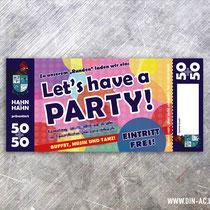 Geburtstagseinladung im Stil einer Eintrittskarte inkl. Perforation/Abriss
