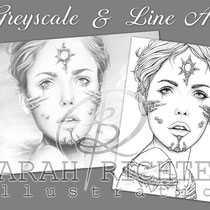 Shibalba / Greyscale & Line Art Coloring Page Pack / Gothic Fantasy von Sarah Richter