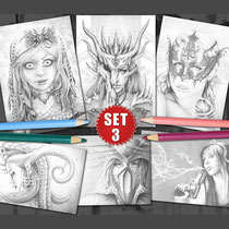 6 Greyscale Coloring Pages - Gothic & Fantasy Greyscale Pack I  von Sarah Richter