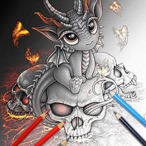Descendant of the Volcano / Coloring Page - Gothic Fantasy von Sarah Richter