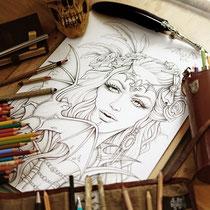 Mina / Coloring Page - Gothic Fantasy von Sarah Richter