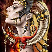 "Gothic Fantasy Illustration "" Mother of Dragons"" art for licensing  / licensing artist"