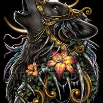 "Gothic Fantasy Illustration "" Howling Wolf "" art for licensing  / licensing artist"