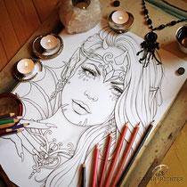 Valandriel / Coloring Page - Gothic Fantasy von Sarah Richter