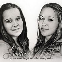 Portraitzeichnung von 2 Schwestern mit schwarzem Buntstift