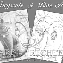 Salem / Greyscale & Line Art Coloring Page Pack / Gothic Fantasy von Sarah Richter