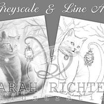 Salem / Greyscale & Line Art Coloring Page Pack / Gothic Fantasy von Sarah Richter