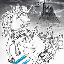 Dark Unicorn II / Coloring Page - Gothic Fantasy von Sarah Richter
