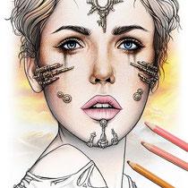 Shibalba / Coloring Page - Gothic Fantasy von Sarah Richter