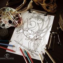 Aerial Demon / Fantasy Coloring Page / Gothic Fantasy von Sarah Richter