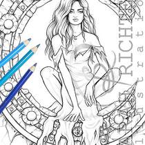 Midnight / Coloring Page - Gothic Fantasy von Sarah Richter