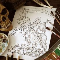 Demonicorn / Coloring Page Gothic Fantasy von Sarah Richter