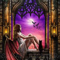 """Gothic Fantasy Illustration """" Children of the night """" art for licensing  / licensing artist"""