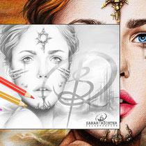 Shibalba / Greyscale-Coloring Page / Gothic Fantasy von Sarah Richter