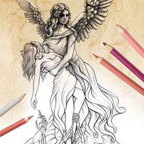 The eternal fight / Coloring Page - Gothic Fantasy von Sarah Richter