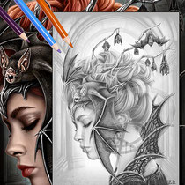 Queen of the night / Greyscale-Coloring Page / Gothic Fantasy von Sarah Richter