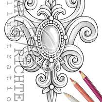 Rokoko / Coloring Page - Gothic Brosche von Sarah Richter