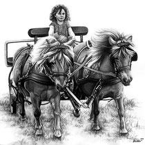 Portraitzeichnung eines Kindes auf einer Kutsche mit Bleistift