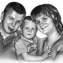Portraitzeichnung einer Familie mit Bleistift