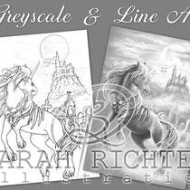 Dark Unicorn II / Greyscale & Line Art Coloring Page Pack - Gothic Fantasy von Sarah Richter