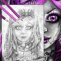Gothic Doll / Greyscale-Coloring Page / Gothic Fantasy von Sarah Richter