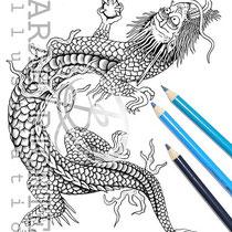 Drago / Coloring Page - Fantasy von Sarah Richter