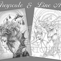 Queen of the night / Greyscale & Line Art Coloring Page Pack / Gothic Fantasy von Sarah Richter