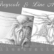 Dreamcatcher / Greyscale & Line Art Coloring Page Pack / Gothic Fantasy von Sarah Richter