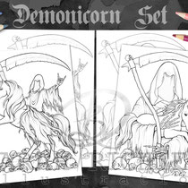 Metallicorn / Coloring Page Set / Gothic Fantasy von Sarah Richter