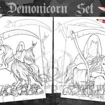Metallicorn / Coloring Page Set / Gothic Fantasy von Sarah Richter