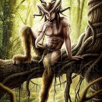 "digital mystic fantasy illustration "" Faun "" art for licensing  / licensing artist"