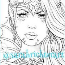 Valandriel / Coloring Page - Gothic Fantasy von Sarah Richter for the faces for charity coloring book