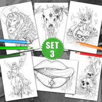 6 Coloring Pages - Gothic & Fantasy Pack III von Sarah Richter