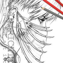 Furiosa / Coloring Page - Gothic Fantasy von Sarah Richter