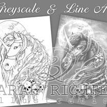 Dark Unicorn / Greyscale & Line Art Coloring Page Pack - Gothic Fantasy von Sarah Richter
