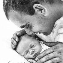 Portrait von Vater und Sohn mit Bleistift und eingearbeitetem Text
