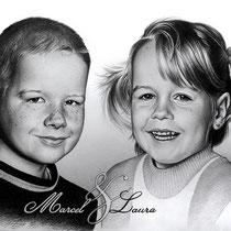 Portraitzeichnung von Geschwistern mit schwarzem Buntstift