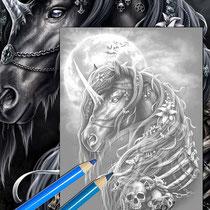 Dark Unicorn / Greyscale Coloring Page - Gothic Fantasy von Sarah Richter