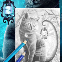 Salem / Greyscale-Coloring Page / Gothic Fantasy von Sarah Richter