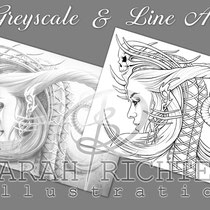 Queen Evil / Greyscale & Line Art Coloring Page Pack / Gothic Fantasy von Sarah Richter