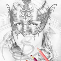 Venice / Greyscale-Coloring Page / Gothic Fantasy von Sarah Richter