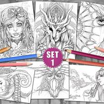 6 Coloring Pages - Gothic & Fantasy Pack I  von Sarah Richter