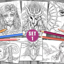 6 Coloring Pages - Gothic & Fantasy Pack I  von Sarah Richter